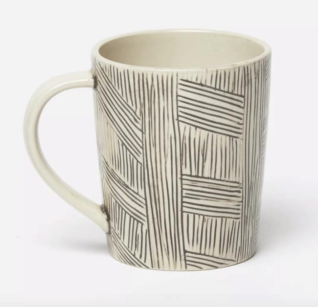 Black and white striped mug
