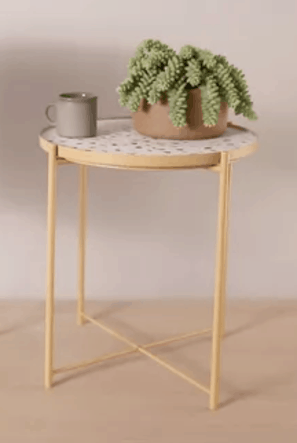 Terrazzo and gold side table