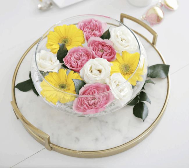 Floating floral flower table arrangement.