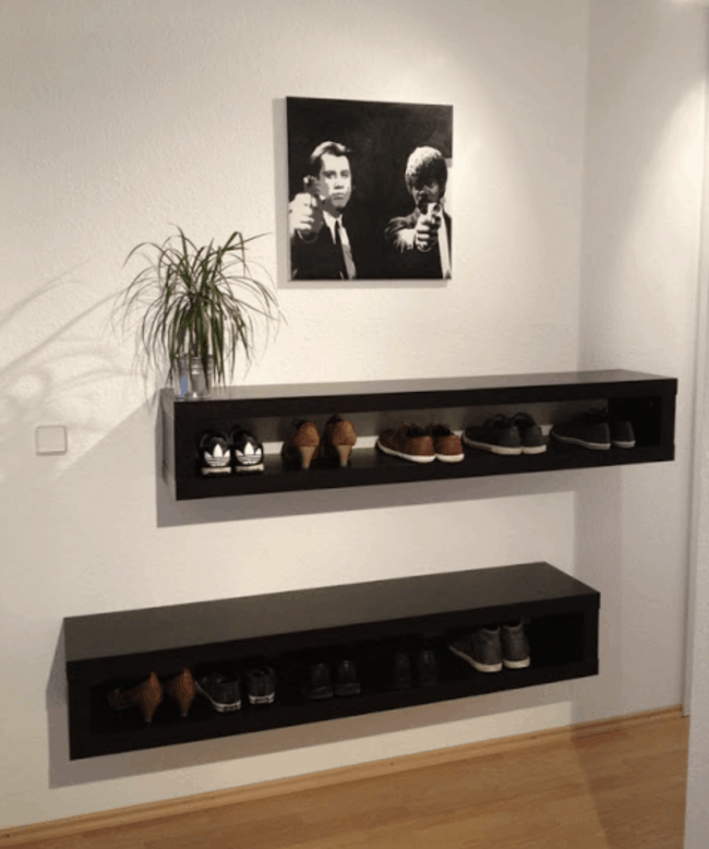 Brown wall mounted Lack shoe cabinet.