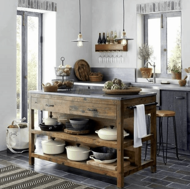 Brown wooden farmhouse rustic style kitchen island.
