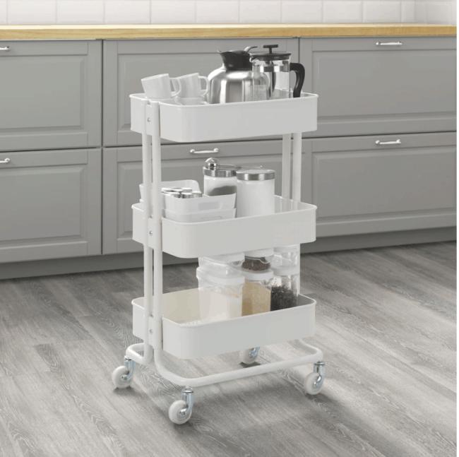 White IKEA Raskog storage cart.