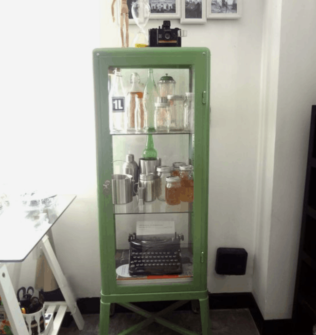 Green glass cabinet.