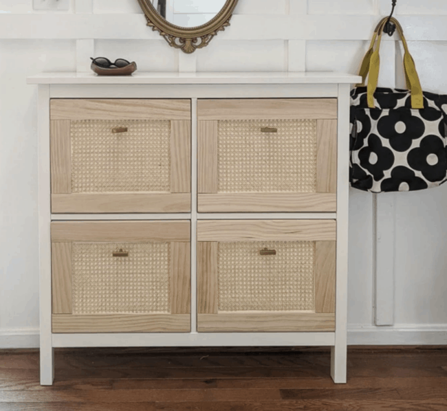 White and brown cane drawer front Hemnes shoe storage unit.