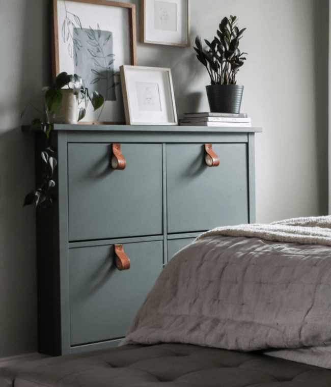 Green painted Hemnes shoe cabinet storage unit with leather pulls.