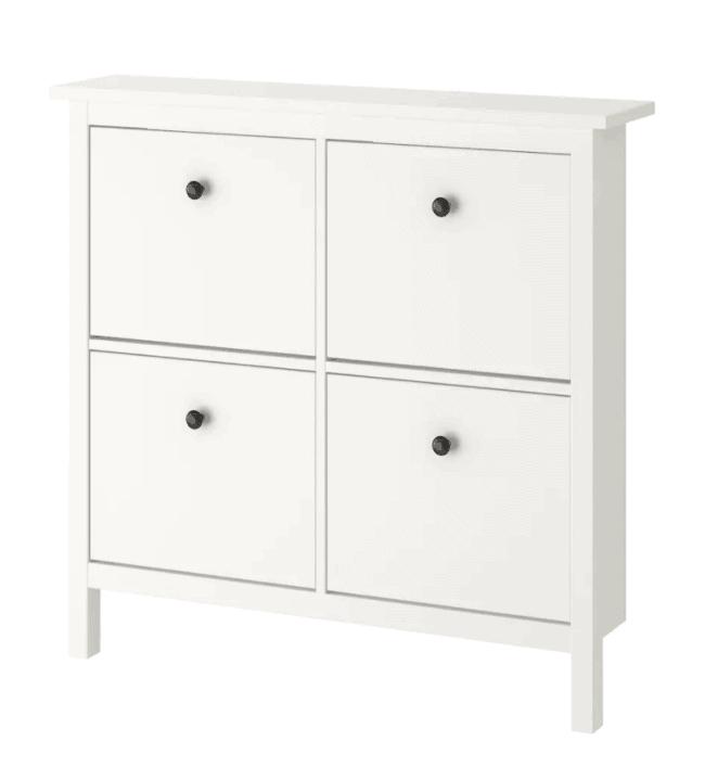 White 4 compartment IKEA Hemnes shoe storage unit.