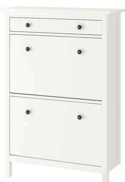 White 2 compartment IKEA Hemnes shoe storage unit.