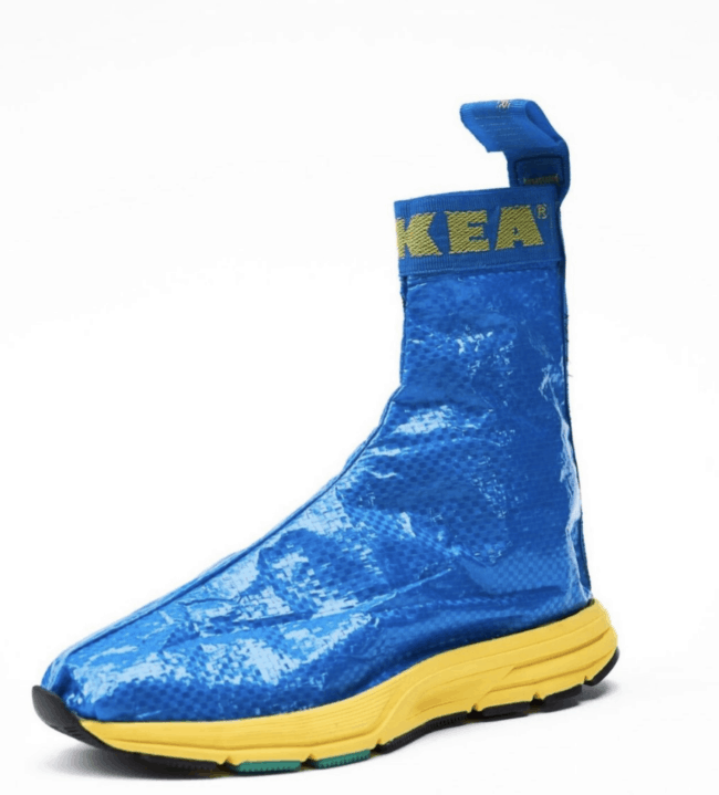 Blue and yellow bootee sneakers made from an IKEA blue bag.