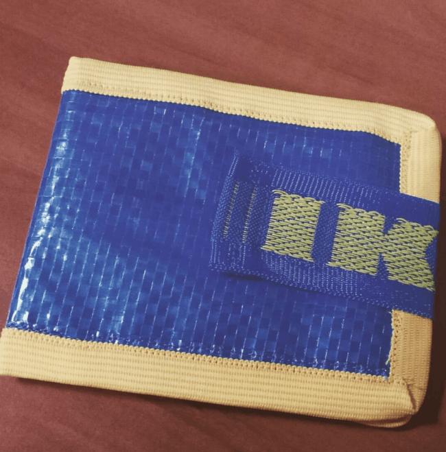 Blue wallet made from an IKEA bag.