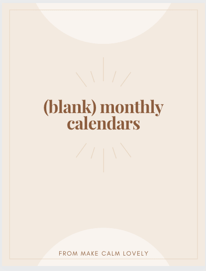 Front cover of blank monthly calendars