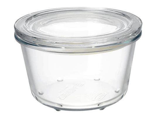 Glass storage container with lid