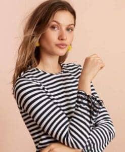 Woman wearing striped tshirt