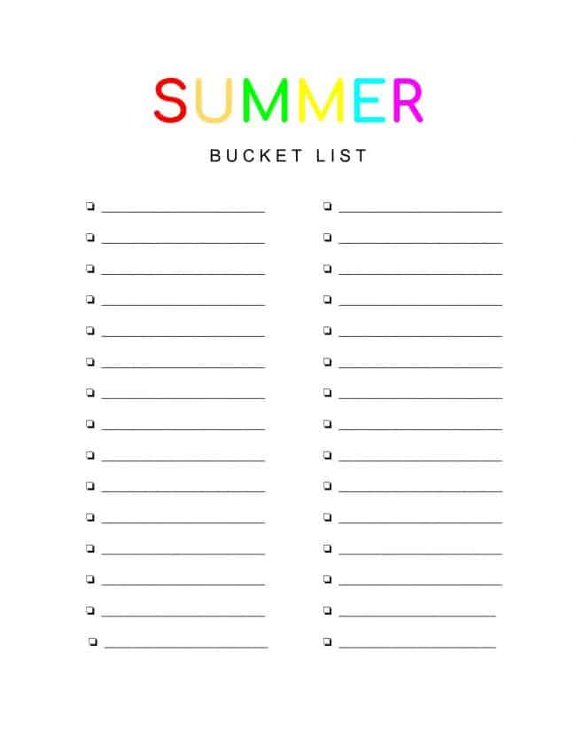 image regarding Bucket List Printable named Summer season Bucket Record Printable - Create Serene Stunning