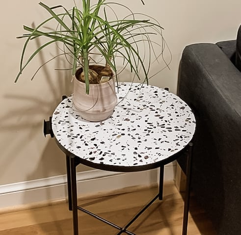 Terrazzo side table with plant.