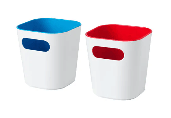 White plastic storage boxes