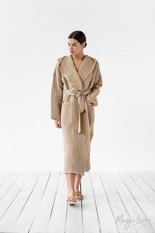 Waffle linen bath robe