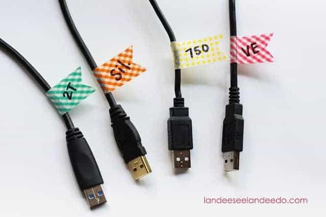 Washi tape cord organization
