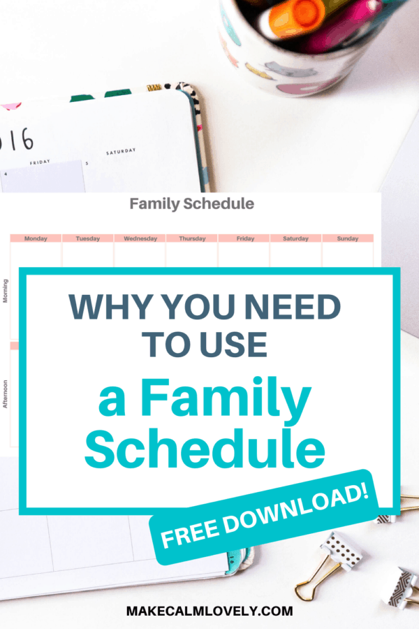 Why you need to use a Family Schedule. Plan your family schedule and be more productive. Plus free download