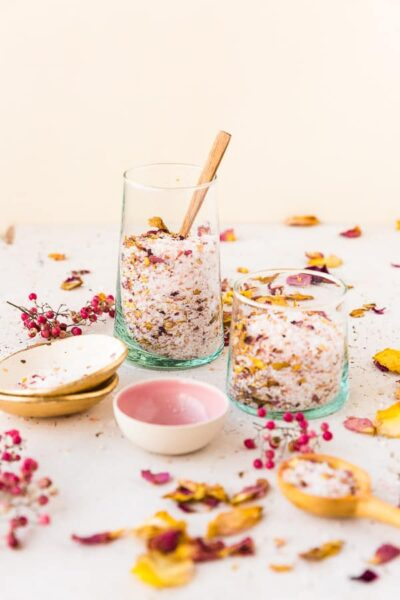 Rose petal bath salts in glass jar.