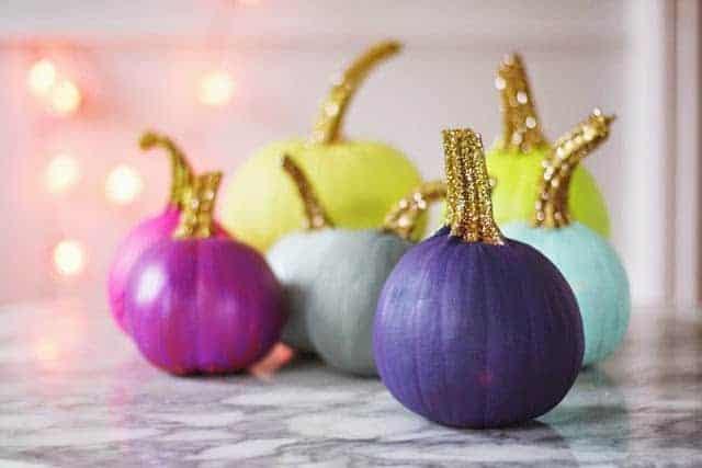 Painted glitter pumpkins