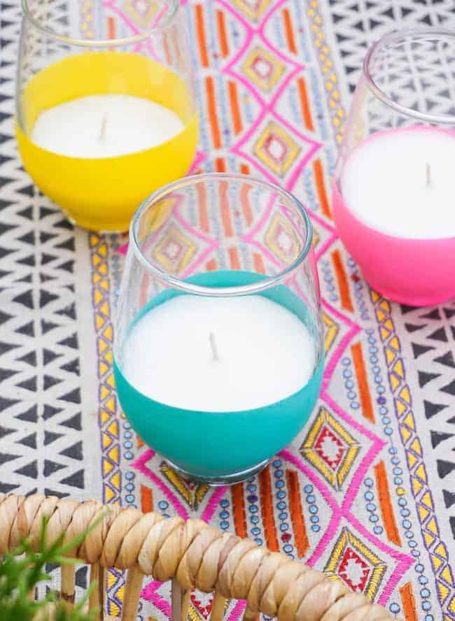 Balloon Dipped Citronella Candles
