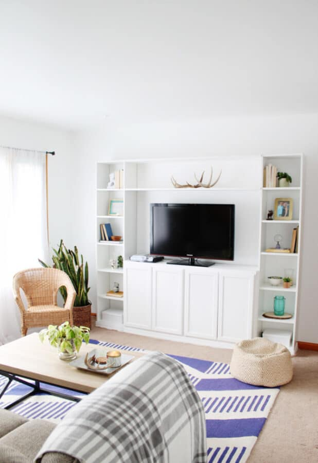 White built in wall cabinets.