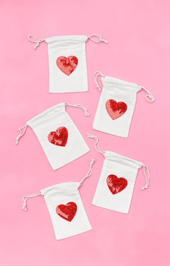 Sequin Heart Treat Bags