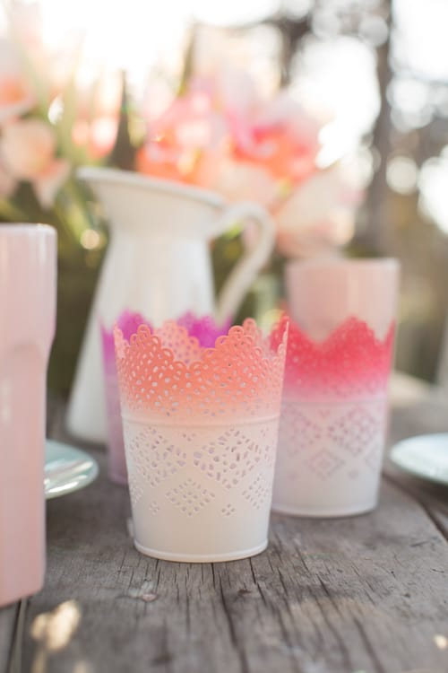 White lace look ombre candle holders.