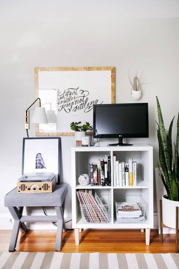 White IKEA Kallax Expedit media stand.