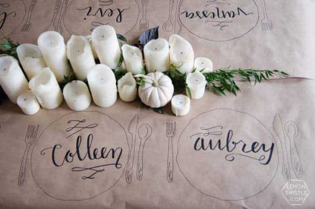 Calligraphy Thanksgiving table cloth