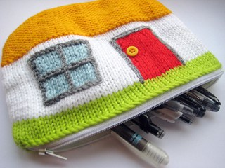 knitted cottage pouch