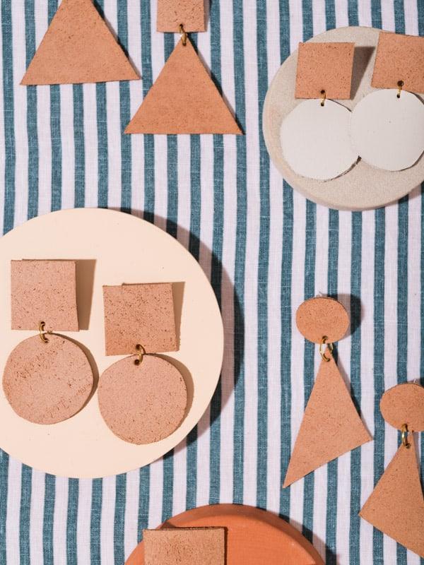 Brown leather earrings.