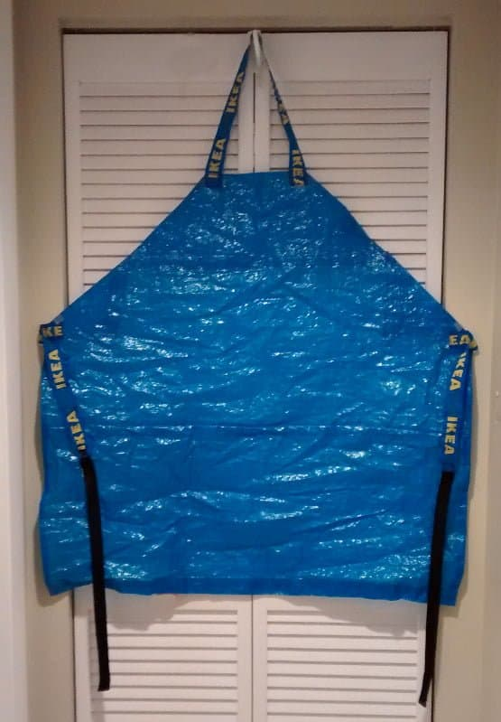 Blue apron made from an IKEA bag.