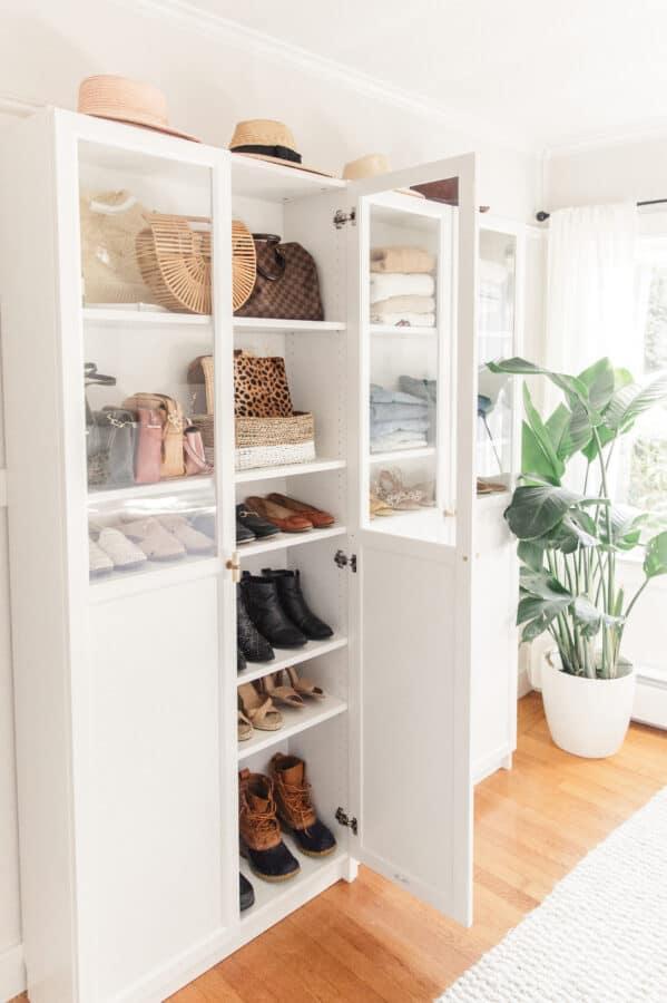 White hallway cabinet.