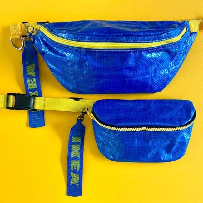 2 blue hip & waist bags made from an IKEA bag.