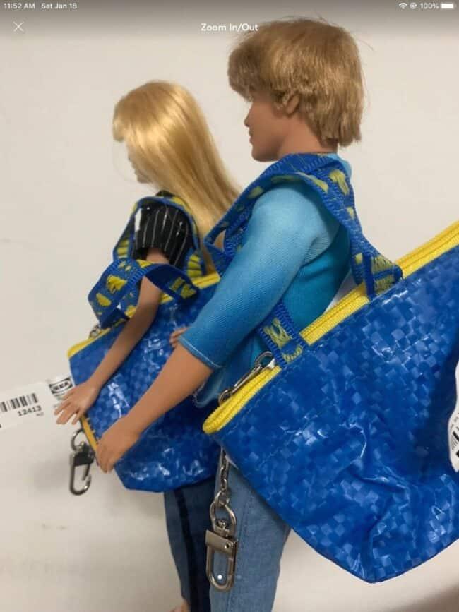Miniature IKEA shopping bag made for Barbie.