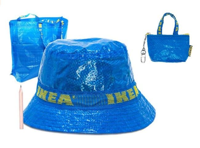 Blue bucket hat made from an IKEA bag with small blue bag with keychain.