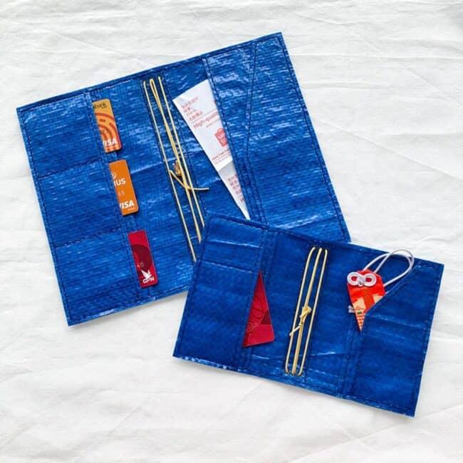 Blue travel wallet made from an IKEA bag.