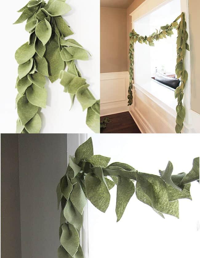 Green felt leaf garland.
