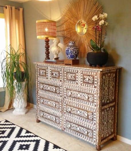 Stenciled wooden dresser