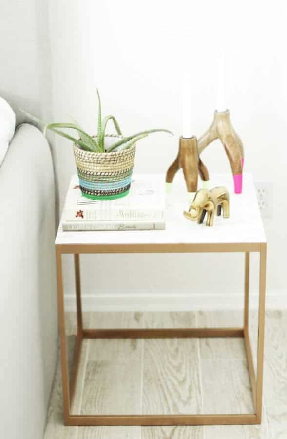 Copper and marble nightstand hack