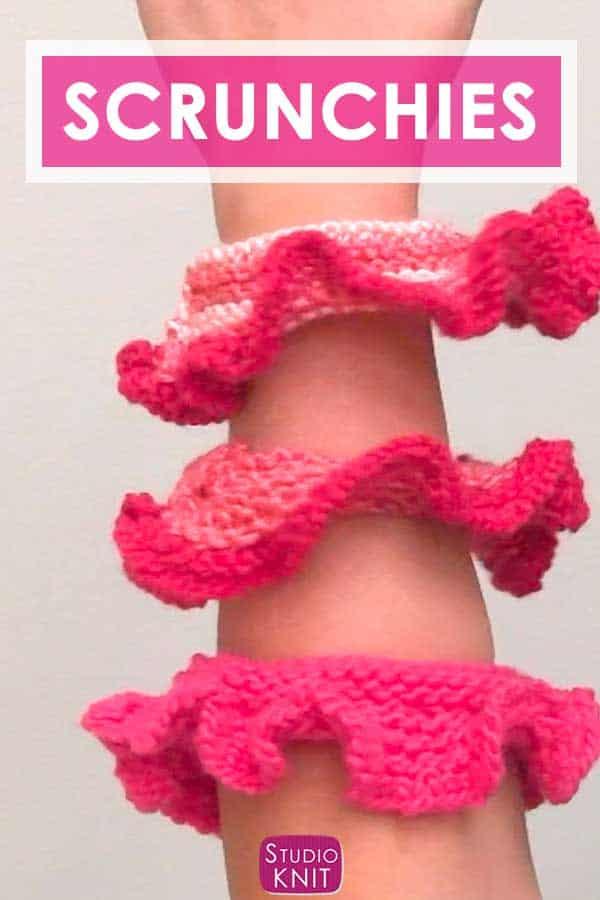 Knitted hair scrunchies