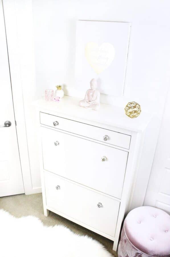 White IKEA Hemnes 2 compartment shoe storage unit turned into vanity dresser.