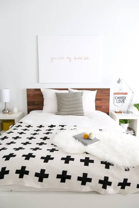 Wooden headboard with Stikwood