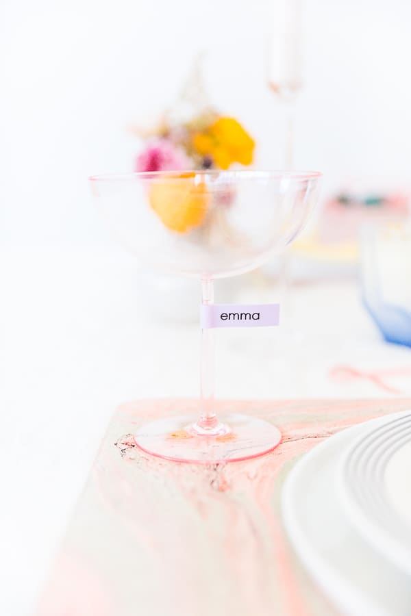 pink personalized glassware.