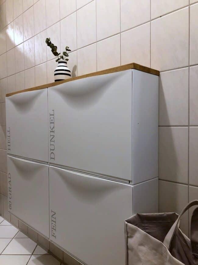 white IKEA Trones storage units.