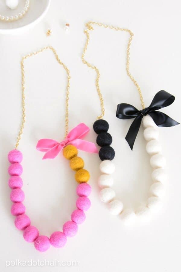 Felt ball necklaces.